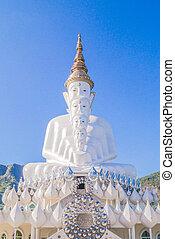 Five white Buddha Statue at Phasornkaew Temple