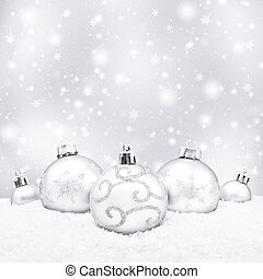 Five white christmas balls