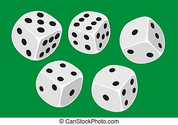 Five white dices isolated on a green background