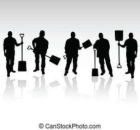 five workers with shovels vector