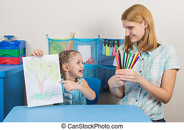 Five-year girl showing on the picture and looked at my mother who is holding in the hands of colored pencils