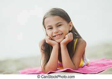 five-year-old girl on the nature