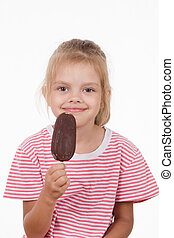 Five year old girl with ice cream
