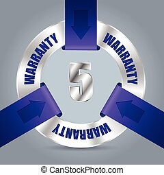 Five year warranty badge with purple ribbon