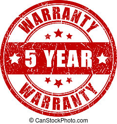 Five year warranty stamp, vector illustration