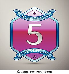 Five years anniversary celebration silver logo with blue ribbon and purple hexagonal ornament on grey background.