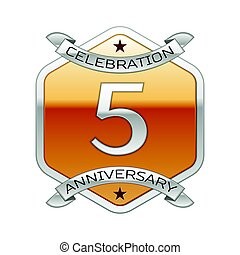 Five years anniversary celebration silver logo with silver ribbon and golden hexagonal ornament on white background.