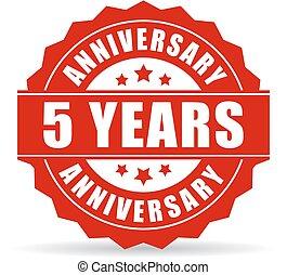 Five years anniversary vector icon