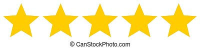 Five yellow stars rating review vector icon for apps and webdesign
