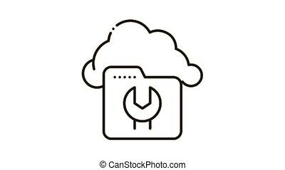 Fix Cloud Folder Icon Animation. black Fix Cloud Folder animated icon on white background