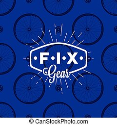 Fix gear logo on seamless pattern with bicycle wheel, vector illustration