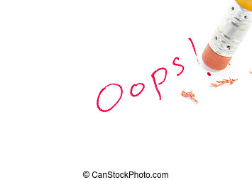 fix it - closeup of a pencil erasing an error