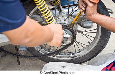 Fix motorcycle - hand for fix motorcycle