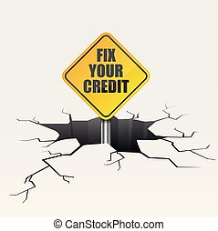 Fix Your Credit - detailed illustration of a cracked ground...