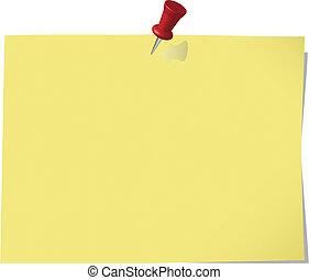 fixado, bloco de notas, amarela