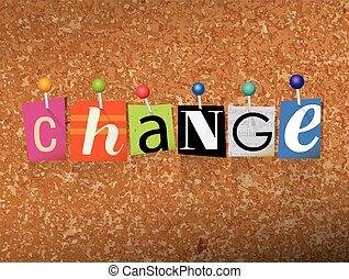 fixado, conceito, letras, mudança, ilustração