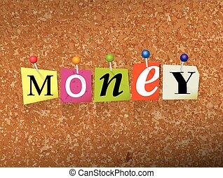 fixado, dinheiro, conceito, letras, ilustração