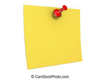 fixado, nota amarela, fundo, em branco, branca