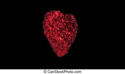 Fixated heart animation of red rose petals