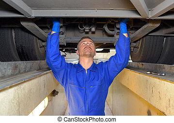 fixation, diesel, mécanicien, véhicule