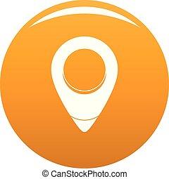 Fixation pin icon vector orange