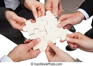 fixation, puzzle, affaires gens, morceaux
