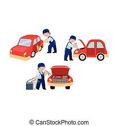 fixation, saut, nettoyage, mécanicien, voiture, commencer