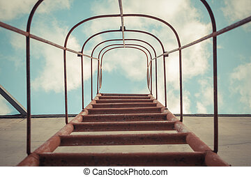 Fixed ladder red color upto the blue sky with cloud , process in vintage style