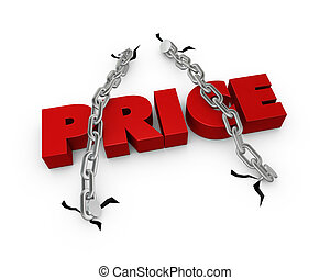 Fixed price - One 3d render of the word price fixed with two...