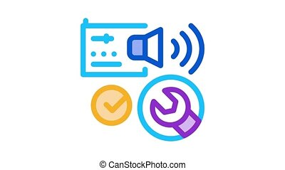 fixed radio sound Icon Animation. color fixed radio sound animated icon on white background