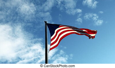 Video with a Low Angle View of North American Flag Flapping in the wind during a bright day