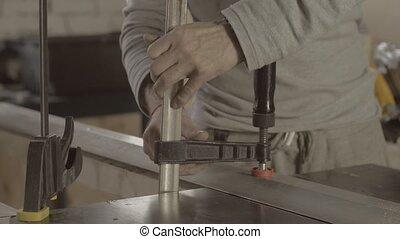fixer, confection, charpentier, professionnel, métal, board., bois, meubles, regimber