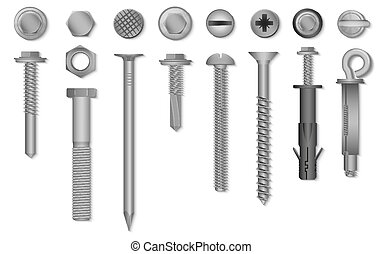 fixing., 現実的, 爪, リベット, ナット, ベクトル, ねじ, 締め具, ボルト, 3d