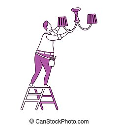 Fixing chandelier flat illustration