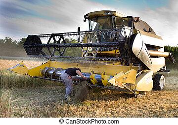 Fixing combine harvester