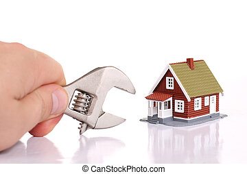 Fixing house problems concept. Isolated over white.