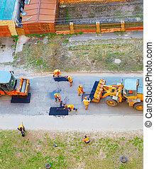 fixing road, roller compactor, excavator - Workers, ...
