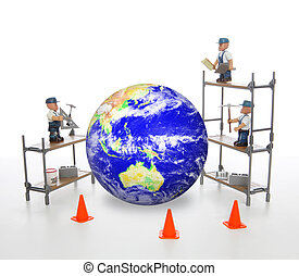 A group of construction work men repairing the earth