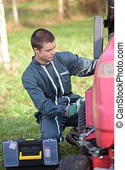 fixing the garden tractor