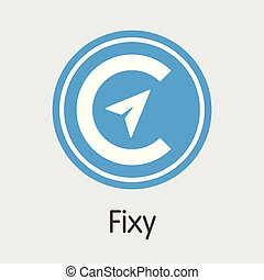 Fixy Blockchain Cryptocurrency - Vector Icon.