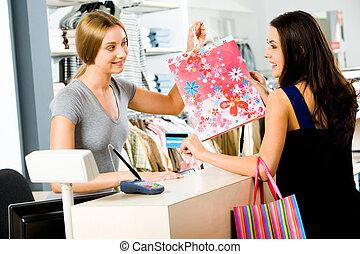 fizetés, alatt, a, bolt