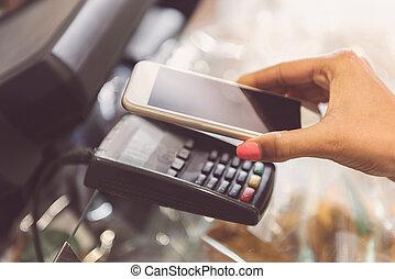 fizetés, lebonyolítás, noha, smartphone
