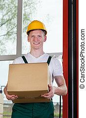 fizikai munkás, birtok, egy, kartonpapír ökölvívás