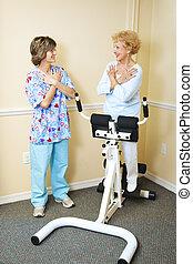 fizikai therapist, noha, gerinc kezelése, türelmes