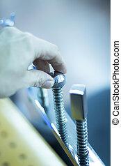 fizikoterápia, klinika, türelmes, alatt, rehabilitáció