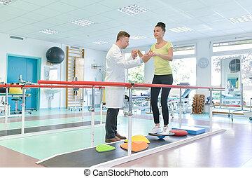 fizikoterápia, nő, fiatal, szoba