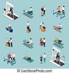 fizikoterápia, rehabilitáció, isometric, emberek, ikon, állhatatos