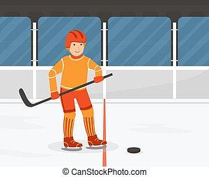 fizyczny, interpretacja, działalność, lekkoatletyka, wektor, facet, hokej, teenage, czynny, chłopiec, ilustracja