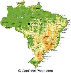 fizyczny, mapa, brazylia