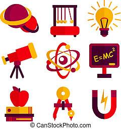 fizyka, i, astronomia, ikony, komplet